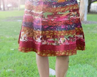 Midi Recycled Skirt, Cotton Midi Skirt, Handmade Skirt, Recycled Clothing, Boho Skirt