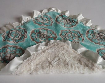 Double Sided MINI Minky Baby Blanket with Ivory Satin Ruffle Edge Mar Bella Barcelona Marina Blue with Crushed Ivory on Reverse