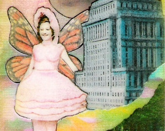 Little Bo Peep Visits the City - ACEO,  Watercolor, Collage,  Print