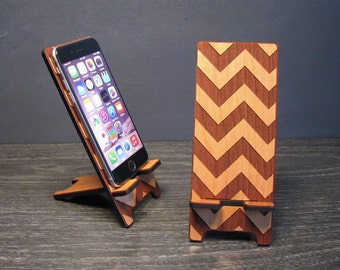 Wooden Phone Stand iPhone 6, iPhone 6 Plus, iPhone 5 or iPhone 4, Samsung Galaxy S5 S4, Universal Docking Station - Wood Chevron Pattern