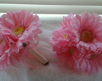 Pink Silk Gerbera posies or table decorations - flower girl, bridesmaid bouquet posy