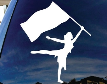 "Color Guard GIRL 5"" Vinyl Decal Widow Sticker for Car, Truck, Motorcycle, Laptop, Ipad, Window, Wall, ETC"