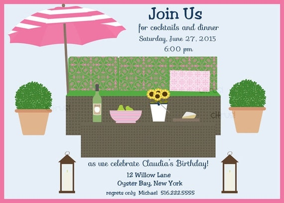 Summer Backyard Party Invitation : Summer Party Invitation Backyard Party Invitation Sunflowers Pink and