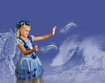 Water Fairy Overlay and Digital Background Set