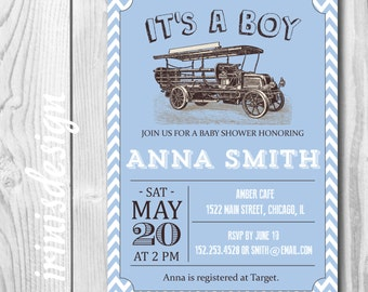 Blue Vintage car Baby Shower Invitation or birthday Party invite | printable chevron baby boy template#108
