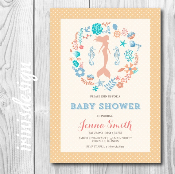similar to mermaid baby shower invitation bridal wedding little