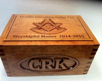 Outgoing Master's Cigar Humidor, carved Cherry
