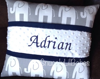 Grey elephant, navy pillow and white minky dot personalized pillow