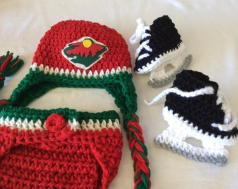 Minnesota Wild. Baby Crochet Hockey Earflap Hat, Diaper Cover, and Skate Booties .