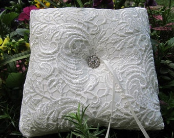 Bridal Pillow with rhinestone button