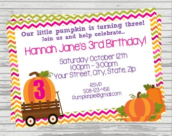 Pumpkin Patch Birthday Invitation. Girl and Boy version available.