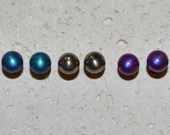 Titanium Stud Earrings 5 mm - Choose a color! Nickel free and hypoallergenic.