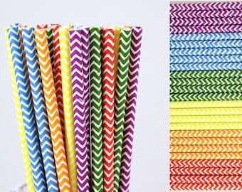 Rainbow Chevron Paper Straws Mix-Rainbow Straws-Chevron Straws-Red Straws-Orange Straws-Yellow Straws-Green Straws-Blue Straws-Purple Straws