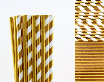 Gold Foil Paper Straws, girls brunch decor, cocktail straws, hen's night party, gold wedding decor, shinny metallic gold, first birthday