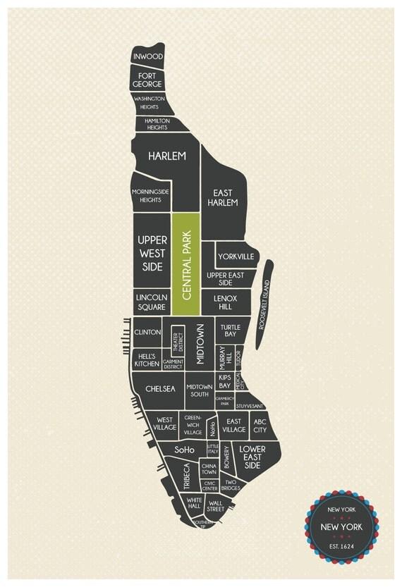Manhattan Map, Manhattan Neighborhood Map, Manhattan Minimalist Map