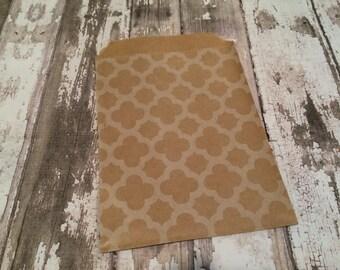 "25 Kraft Brown Quatrefoil/Geometric Print Brown Kraft Bags, 4"" X 6"". Favor Bags, Party, Wedding, Shower, Candy Bags"