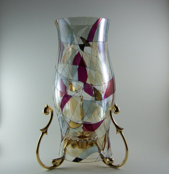 partylite candle holder w mosaic stained glass huricane shade p7016 11. Black Bedroom Furniture Sets. Home Design Ideas