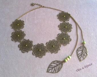 Headband head bohemian gem with flowers and leaves