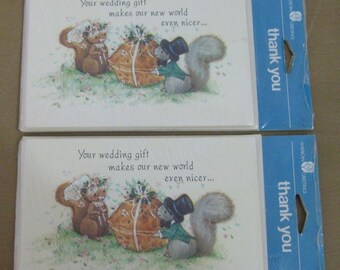 On Sale Vintage American Greetings Wedding Gift Thank You Cards, 2 Packages - 16 Cards/Envelopes, Adorable Squirrels, NEW