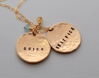 Two Disc Gold Name Necklace