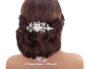 Large bridal hair comb crystal flower vine Wedding comb Crystal bridal headpiece vintage Wedding headpiece Hair comb Hair accessories 5168