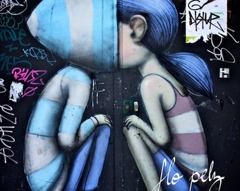 Wall Art, Graffiti Photography, Teenagers Art, Graffiti, Street Art , Romantic Photography, Love, Blue Graffiti, Paris Art - Peekaboo 8x8""