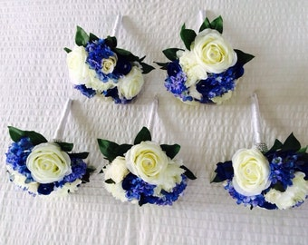 WEDDING x1 bridesmaids bouquet... vintage ivory roses with peonies & hydrangeas and crystals.... country chic !