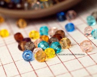 30 Summer Mix 3x5mm Faceted Rondelle Czech Glass Beads (SB097)