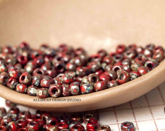 10g Opaque Red Picasso 6/0 Miyuki Seed Beads (CB020)