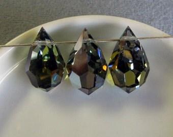 3 Pieces Preciosa Cut Crystal Tear Drop, Marina, 12 x 20 mm, Czech Crystal