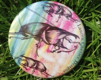 Multicoloured Beetle Pocket Mirror (58mm)