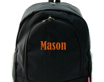 Personalized Backpack Monogrammed Bookbag Solid Black Boys Girls Large Canvas Kids Tote School Bag Embroidered Monogram Name