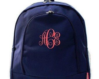 Personalized Backpack Monogrammed Bookbag Solid Navy Blue Boys Girls Large Canvas Kids Tote School Bag Embroidered Monogram Name