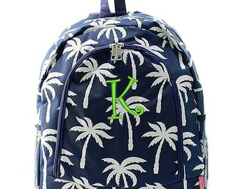 Personalized Backpack Monogrammed Bookbag Palm Tree Navy Blue White Girl Large Canvas Kids Tote School Bag Embroidered Monogram Name