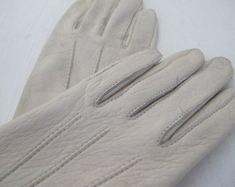 White Leather Gloves Deerskin Gloves Small Driving Gloves New