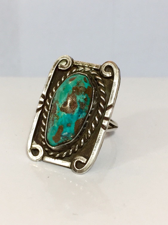 vintage turquoise ring navajo by antiquejewelryforfun