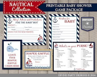 INSTANT DOWNLOAD Nautical Boy Baby Shower Game Package / Printable DIY / Diaper Raffle / Wishes for Baby / Nautical Collection / Item #602