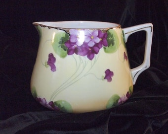 Large Beautiful Jug with Hand Painted Violets & Gold Trim