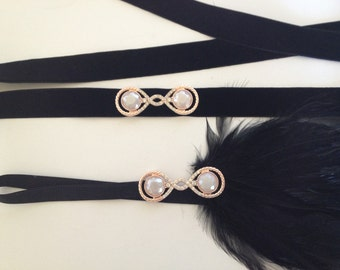 20's style gold beaded flapper headband head piece rose gold hair piece head gatsby inspired 1920s flapper girl ostrich feather ivory