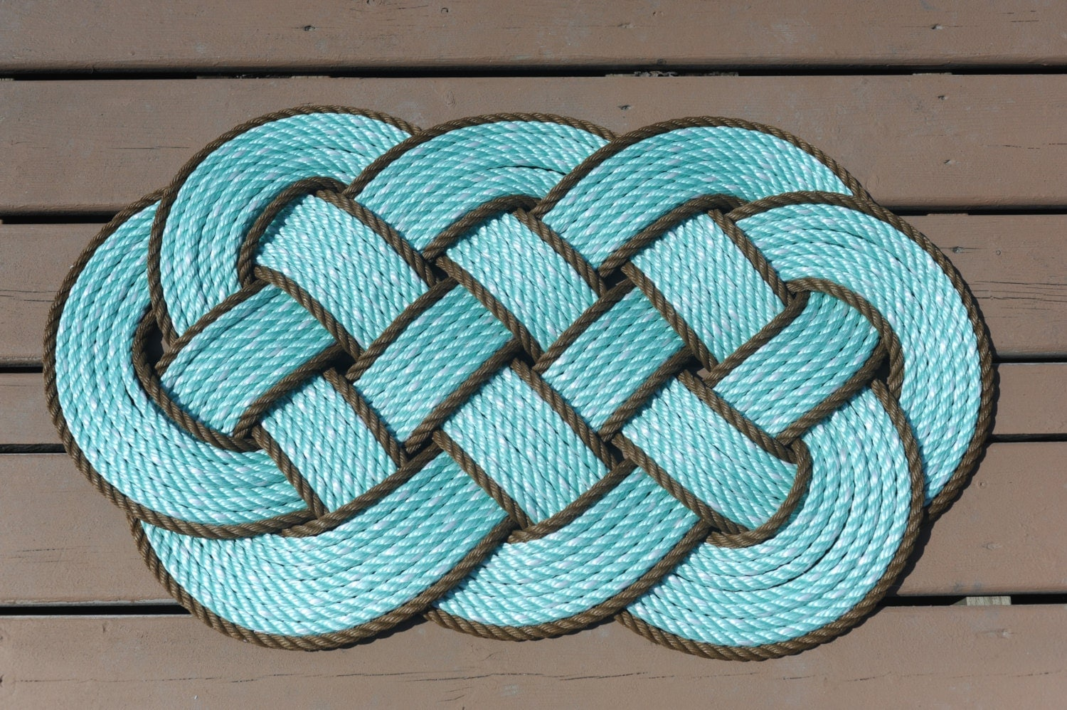 Aqua with brown rope rug rope rug nautical decor rope by for Rope carpet