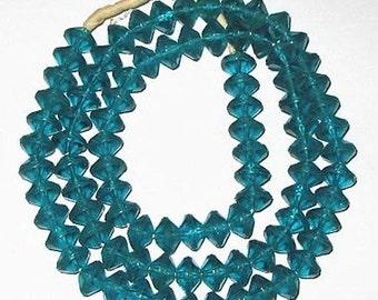 trade Czech Vaseline Shape Bohemian Teal Glass beads