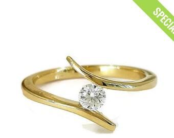 Sale Engagement Ring 14kYellow Gold Diamond Ring, Curved Ring, art deco engagement ring ,Promise Ring, Wedding Ring, christmas sale, Gift