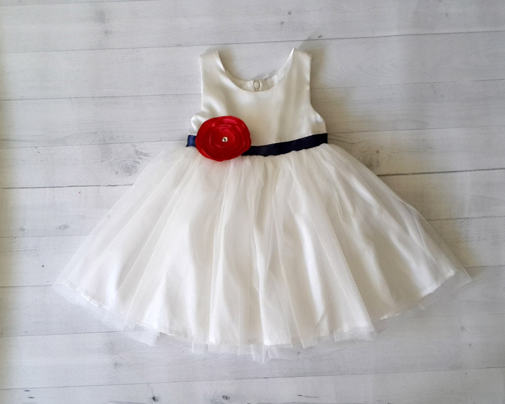 White Flower Girl Dress Satin White Dress With Contracting Navy