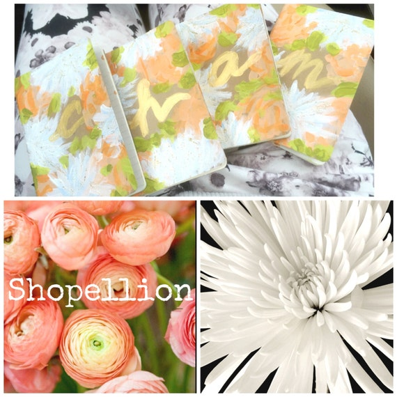 Hand painted floral journals with Initials