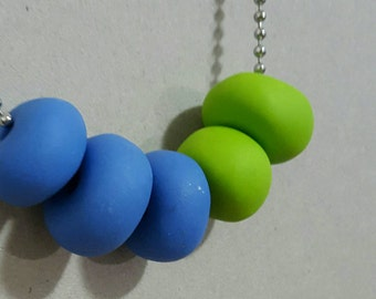 Bright Blue & Apple Green - Handmade Polymer clay necklace