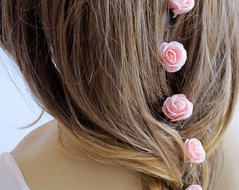 Pink Rose Wedding Hair Pins, Hair Pins, wedding accessory, Hair Accessories, Bridal Accessories, Bridesmaid Hair - Set of 6