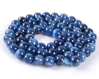 "1011 6mm Blue Kyanite round loose gemstone beads 16"""