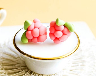 Raspberry earrings miniature food