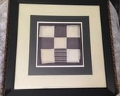 "Zig Zags and Stripes Antique Hand Stitched Quilt Square Circa 1860's Professionally ""Float"" Matted and Framed 22 x 22"
