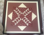 "Pointing Arrows Antique Hand Stitched Quilt Square Circa 1860's Professionally ""Float"" Matted and Framed 22 x 22"